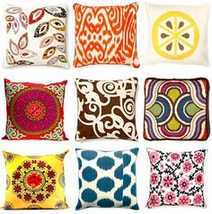Retro Decorative Pillows by Urban Outfitters. I love the first one in the middle row. Colorful Throw Pillows, Decorative Pillows, Bright Pillows, Textiles, Vintage Bohemian, Bohemian Pillows, Making Ideas, Home Accessories, Interiors
