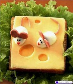 Two cheeses, banty eggs, hot dog or other sausage. Food Art : theBERRY