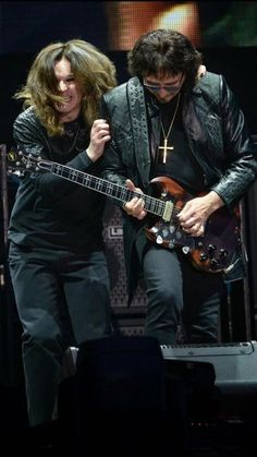 Ozzy Osbourne and Tony Iommi on stage