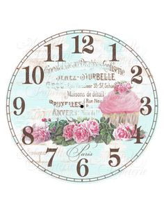 Clock-DIY Shabby Chic Clock Face with Cupcake, Roses and French Ephemera