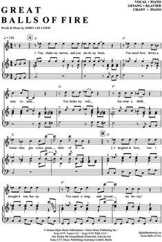 Great balls of fire (Klavier + Gesang) Jerry Lee Lewis [PDF Noten] >>> KLICK auf die Noten um Reinzuhören <<< Noten und Playback zum Download für verschiedene Instrumente bei notendownload Blockflöte, Querflöte, Gesang, Keyboard, Klavier, Klarinette, Saxophon, Trompete, Posaune, Violine, Violoncello, E-Bass, und andere ...