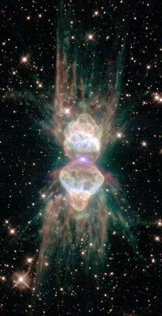 This planetary nebula, Mz3, is being cast off by a star similar to our Sun.  The 1000-kilometer per second speed of the expelled gas, the light-year long length of the structure, and the magnetism of the star visible at the nebula's center, all imply  Mz3 is hiding a second, dimmer star that orbits close in to the bright star. A competing hypothesis holds that the central star's own spin and magnetic field are channeling the gas. (ESA, NASA's Hubble, JPL-CalTech)