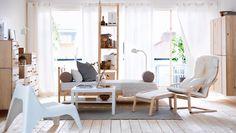 PINO - gama de colores Un salón repleto de muebles de pino natural