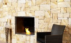 Eco Outdoor Killcare sandstone random ashlar walling on modern fireplace. Stone Cladding, Wall Cladding, Natural Stone Veneer, Rock Fireplaces, Modern Fireplace, Fireplace Stone, Fireplace Inserts, Landscape Walls, Cool Walls