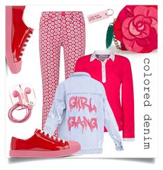 """""""Girl Gang"""" by interesting-times ❤ liked on Polyvore featuring Kate Spade, Prada, Tory Burch, PhunkeeTree, Various Projects, DUBARRY and coloreddenim"""