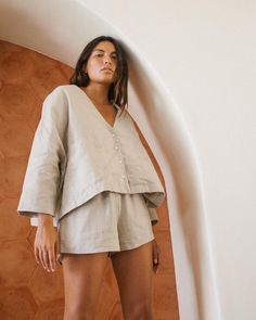 The Lounger Blouse and Pull-Ups. 100% linen in Natural. #arthurapparel