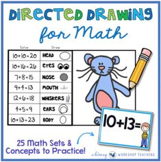 """This bundle includes 25 sets for math practice through the year using """"MATH PICTURES"""" original designs. It's like Directed Drawing for MATH! This set includes over 700 math task cards! NOTE: There are some FREE SAMPLE PAGES in the preview!"""