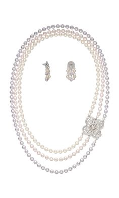 Triple-Strand Convertible Necklace and Earring Set with