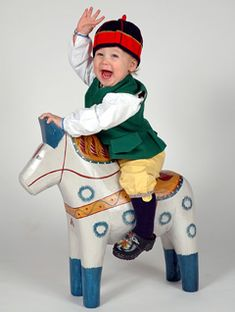 Young Dala Horse rider, 5th generation heir of the Grannas A Olsson company. Cutie!