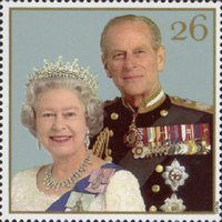 Stamp: Queen Elizabeth II and Prince Philip, 1997 (United Kingdom of Great Britain & Northern Ireland) (Royal Golden Wedding) Mi:GB 1885 Princess Anne, Princess Margaret, Queen And Prince Phillip, Prinz Philip, Royal Marriage, British Royal Families, Royal Queen, Isabel Ii, Royal Families