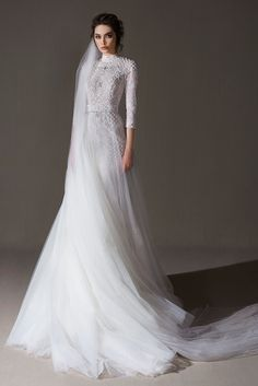 ersa atelier spring 2020 bridal three quarter sleeves high neck full embellishment modest elegant modified a line wedding dress mv -- Ersa Atelier 2020 Wedding Dresses Luxury Wedding Dress, Wedding Dress Sleeves, Modest Wedding Dresses, Bridal Dresses, Bridal Hijab, Ball Dresses, Ball Gowns, Minimalist Gown, Party Mode