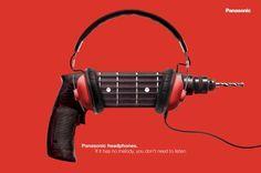 "Panasonic Headphones: ""DRILL GUITAR"" Print Ad by G2"