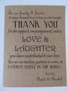 Wedding Thank You Card With PrePrinted Thank You Message On Back