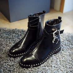 2018 Punk Style Womens Rivets Side Zipper Pointed Toe Buckles Strap Ankle Boots