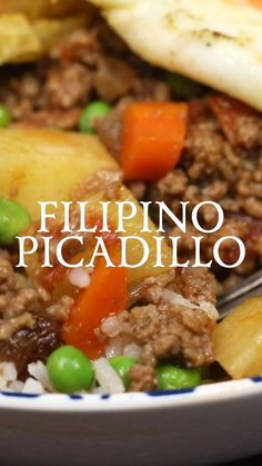 Filipino Picadillo - A delicious, one-skillet dinner made with ground beef, potatoes, raisins and vegetables in flavorful sauce. Filipino Vegetable Recipes, Easy Filipino Recipes, Asian Recipes, Mexican Food Recipes, Filipino Food Menu, Filipino Dishes, Ground Beef Recipes, Pork Recipes, Cooking Recipes