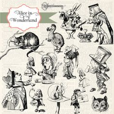 Check out Alice In Wonderland Clipart by Tangle's Treasures on Creative Market