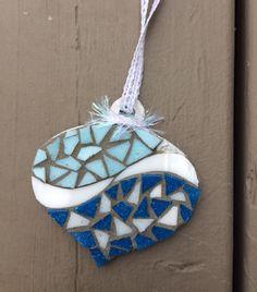 Blue & blue mosaic ornament - Glass Needle Works