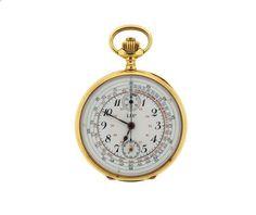 LIP 18k Gold Single Button Chronograph Pocket Watch