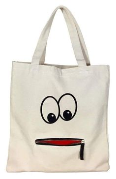 Tote Bag - Googly Eye Zipper Tote Say goodbye to plastic bags with this cool handprinted shopping tote in cotton. * Comes with a fun zipper mouth pocket * Spot clean only. Sacs Tote Bags, Diy Tote Bag, Canvas Tote Bags, Reusable Tote Bags, Canvas Totes, Canvas Purse, Canvas Handbags, Tote Handbags, Tote Bags Online