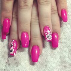 Bright Pink Nails With White Flowers To Complete The Look #Nailart #Nailartdesigns #Flowernails #Pinknails