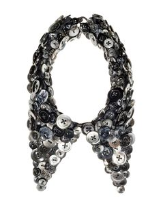 KOTSU-KOTSU button necklace Button Necklace, Alexander Mcqueen Scarf, Classy, Necklaces, Buttons, Texture, Creative, Accessories, Black