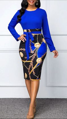 Long Sleeve Printed Belted Bodycon Dress Women Clothes For Cheap, Collections, Styles Perfectly Fit You, Never Miss It! Women's Fashion Dresses, Latest African Fashion Dresses, Sexy Dresses, Dress Outfits, Fashion Clothes, Sheath Dresses, Latest Dress, Casual Outfits, Dresses For Work