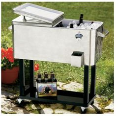 Steel Patio Cooler Cart With A Built In Bottle Opener And Two Locking  Wheels. Product: Cooler CartConstruction Mate... | COTTAGE  Decor |  Pinterest | Patios ...
