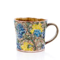 Mug Earthenware, electric fired, handbuilt with sgraffito x 5 x H Learn more about the Artist: Shoko Teruyama Electric Fires, Sgraffito, Ceramic Cups, Earthenware, Objects, Clay, Pottery, Ceramics, Artists
