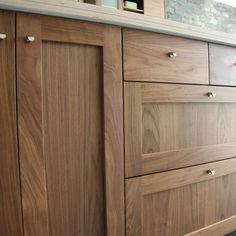Modern Walnut Kitchen Cabinets Design Ideas 13 – decoratoo – Famous Last Words Walnut Kitchen Cabinets, Ikea Cabinets, Shaker Cabinets, Kitchen Cabinet Doors, Kitchen Cabinet Design, Blue Cabinets, Kitchen Wood, Frameless Kitchen Cabinets, Cabinet Hardware