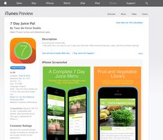 7 Day Juice Pal App is Live in Apple Store!  https://itunes.apple.com/WebObjects/MZStore.woa/wa/viewSoftware?id=942054278&mt=8