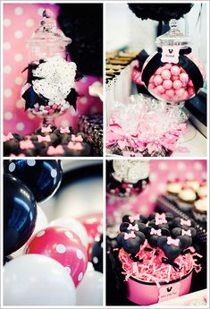 Minnie Mouse Birthday Cake  pink and black  party ideas and inspiration  #minniemouse  birthday party