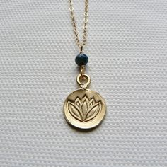 Gold Fill Lotus Necklace with Sapphire Stone