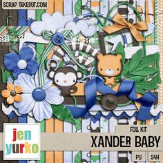 Xander Baby is perfect for all of your baby,  toddler, even little boy pages. A coordinating alpha is also available. Check this fabulous kit here: http://scraptakeout.com/shoppe/Xander-Baby-Full-Kit.html