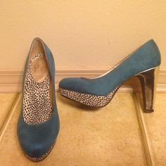 """Teal and Leopard Print platform heels!  Worn only twice, these are a show stopper with their rich color and shiny, reflective heel. In great like new condition! Platform is about 1"""", and heel height is about 4"""". jellypop Shoes Heels"""