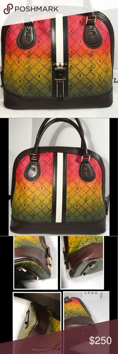 L.A.M.B. Montego Bowler Bag❤️ Rare and stunning Ombré Rasta Montego Bowler handbag. From the Lux Holiday 2007 Signature Collection. Excellent condition. Goldtone hardware . Exterior closure. Front exterior Pocket on bag. Logo striped interior. 4 protective prongs on bottom of bag. A spot on bottom interior & interior pocket discoloration. Authentic & smokefree. Designed by Gwen Stefani. Dustbag included. Carefully review all photos & ask any questions prior to purchase Retail Price $ 565.00…