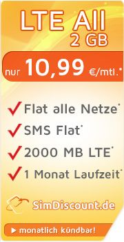 SimDiscount LTE All 2 GB mit O2 SimDiscount LTE All 2 GB Vertrag! bestellen