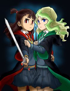 Akko of Gryffindor and Diana of Slytherin❤️❤️❤️ I love this bc I'm a Slytherin and Diana is my fave character in LWA Little Witch Academia Diana, Little Wich Academia, Couple Sketch, Harry Potter Drawings, Cartoon Crossovers, Kawaii, Lgbt, Comic, Anime Art Girl