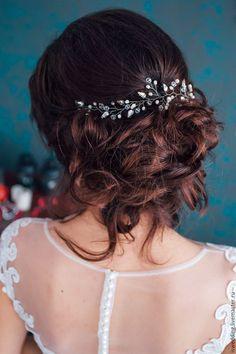 Купить Свадебное украшение для волос - украшение для волос, украшение из бусин, свадебное украшение, свадебная прическа