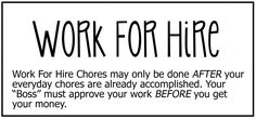 Work for Hire chore board - The Chic Site Chore Chart Kids, Chore Charts, Small Binder, The Chic Site, Chore Board, Work For Hire, Job Chart, Chore List, Charts For Kids