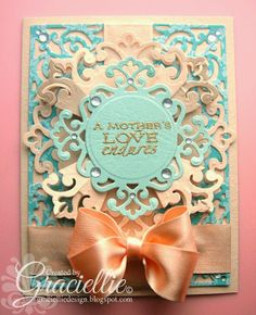 Graciellie Design: Dies R Us Challenge #1, Spellbinders Parisian Motifs and Parisian Accents, Peach and Aquamarine, double bow, Flourishes Spring Bouquet, Mother's Day card