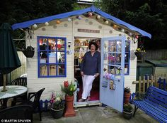 Outnumbered by men: Caroline Counsell gfrom Redhill, Surrey, uses her garden retreat to indulge in her love for arts and crafts and have a b...