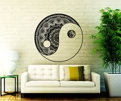 Mandala Wall Decal Yin Yang Yoga Studio Vinyl Sticker Decals Ornament Moroccan Pattern  Home Decor Boho Bohemian Bedding Bedroom Art  NA366