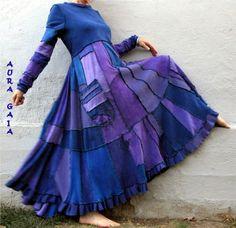 AuraGaia's Sheknows~ Poorgirl Boho OverDyed Upcycled Long Dress M-1X Plus