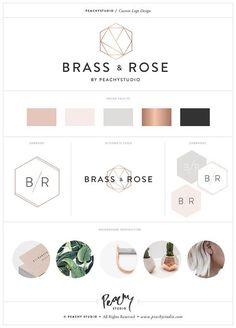 Custom Logo Design & Print Branding Package / Custom Branding Design  /  Business Branding Kit - Rose Gold Coper Geometric Minimal Example