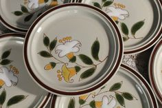 Set of 6 Dinner Plates ACSONS Stoneware by sisoftmoonVintage