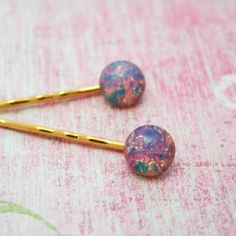 Pink Fire Opal Colored Glass Bobby Pins