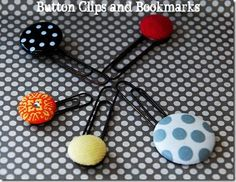 fabric button book marks on oversized paper clips! these are perfect quick purchases for stocking stuffers! (I could even gear some towards dudes!) Easy Gifts, Cute Gifts, Homemade Gifts, Teacher Christmas Gifts, Teacher Gifts, Fabric Rosette, Diy Magnets, Vbs Crafts, Student Gifts