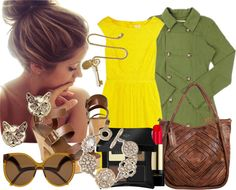 """Yellow Lace, Gold and Army Green"" by lazymazei on Polyvore"