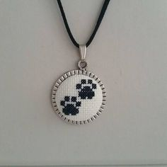Crossstitch Necklace Paw Crossstitch Necklace Paw Pendant