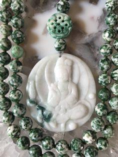 Green Spot Tree Agate and Jade Mala/Prayer Beads by ManiMantraMala on Etsy